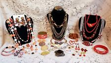 Vintage & Modern Warm Tones Costume Jewelry Lot