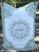 Patchwork pillow sham, white, green, floral