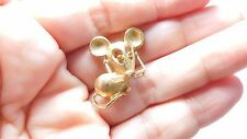 Vintage Signed Avon Gold Tone Metal Topaz Rhinestone Mouse Brooch