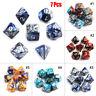 7Pcs/Set mehrseitig Würfel Spielwürfel D4-D20 Für TRPG Spiel Dungeons &