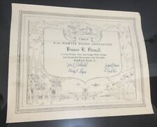 P-47 Fighter Pilots Assiation Certificate World War 2 Militaria History Binnell
