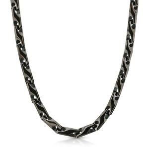 New Heavy 9 mm BLACK Tungsten Carbide Men's Biker Necklace (001) - FREE SHIPPING