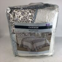 Vintage Cannon Bedspread Cotton Floral Design NIB King Embroidered Flowers White