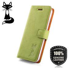 SURAZO® Premium Echtes Ledertasche Schutzhülle Nubuk Wallet Flip Case - Grün