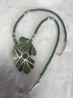 #539 Vintage 1970s Turquoise Coral Chip Inlay Thunderbird Pendant, Silver 925