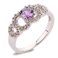 Luxury Engagement Wedding Platinum Plated Purple Ring small size M 16.5 mm FR164