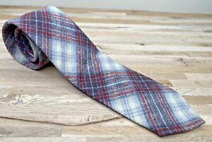 Vintage Wool Tie PENDLETON Plaid Grey Red Designer Classic Narrow Skinny Retro