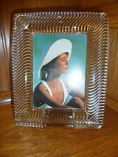 """Mikasa Crystal Glass Picture Frame 5"""" x 6"""" Desk Mount Holds Picture 3"""" x 4"""""""