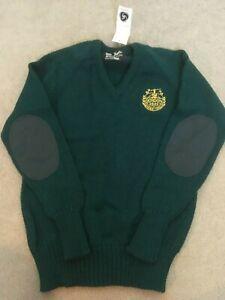 VINTAGE GORDON SEMPER FIDELIS SCHOOL SCOTLAND WOOL BLEND SWEATER GREEN  86/34
