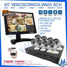 "KIT VIDEOSORVEGLIANZA AHD 1080P DVR 8CH 8 TELECAMERE 720P MONITOR 10,1"" CCTV LED"