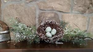 "NWT RAZ 18"" Snow Ice 3 Egg BIRD NEST on Tree Branch Bough WINTER Christmas DECOR"