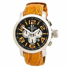TW Steel TW52 Men's Black Dial Orange Leather Band Chrono Watch