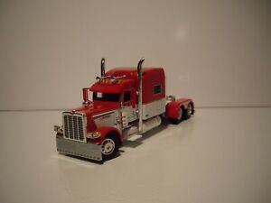 DCP FIRST GEAR 1/64 RED AND WHITE PETERBILT 389 WITH 70'' MID-ROOF SLEEPER