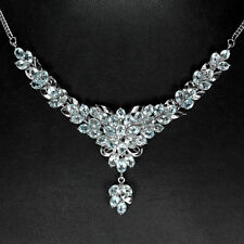 Sterling Silver 925 Genuine Natural Sky Blue Topaz Cluster Necklace 18 Inch