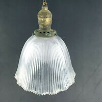 Antique 1900s Victorian Ceiling Pendant Pull Chain Glass Light Fixture by Bryant