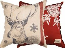 New!~Extra Large Beautiful Christmas Snowflake 00004000  Reindeer Pillow~Deer/Santa~28322