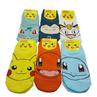 Pikachu Pokemon Women Ankle Socks 6 Pairs Animation Cartoon Mens Kids Sizes 6-11