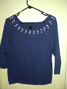 ANN TAYLOR Navy Crystal Bead EMBELLISHED Ballet Neck 3/4 Sleeve Sweater M