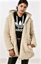 NWT Urban Outfitters Ecote ivory Oversize Faux Fur Sherpa Hood Zipper Coat M /L