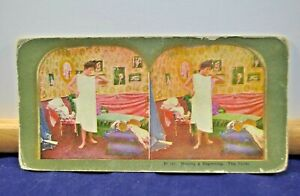 Antique Stereoview Card - #34 (a) Making a Beginning. The Toilet
