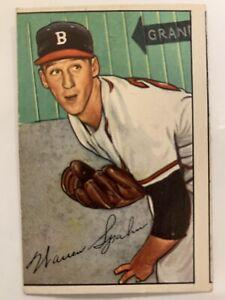 1952 BOWMAN BASEBALL #156 WARREN SPAHN - BOSTON BRAVES PRE OWNED