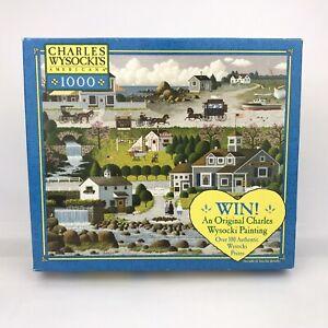 Charles Wycocki's Americana Crickethawk Harbor 1000 Piece Puzzle (2003, Hasbro)