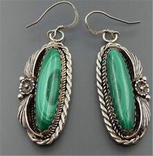 Women Jewelry Silver Carved Flowers Long Turquoise Hook Dangle Stud Earrings