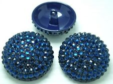 "3 Sparkling Blue Crystal Rhinestone Metal Sewing Shank 1 1/8"" Buttons #S570"
