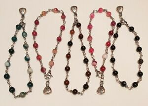 Natural Striped / Banded Agate Anklets With Moneybag Charm  9-1/2 inches ( 24cm)