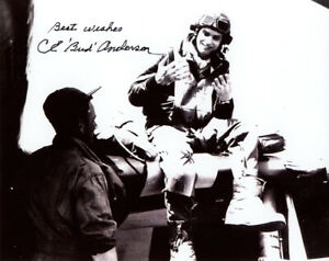 CLARENCE BUD ANDERSON SIGNED 8x10 PHOTO P-51 WORLD WAR II TRIPLE ACE BECKETT BAS