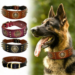 Leather Adjustable Spiked Dog Collar for Medium Large Pet Training Rive Collars