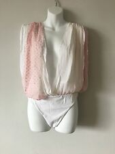 NWT ALTUZARRA WHITE PINK ISABELLA BODYSUIT SIZE 6 FROM THE WEBSTER MIAMI ITALY