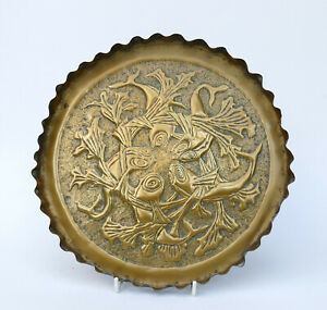 Arts & Crafts Movement Design - Brass Card Tray Repousse Decoration - FISH
