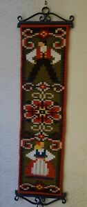 Large Woolen Needlepoint Tapestry Wall Hanging with Wrought Iron Hangers