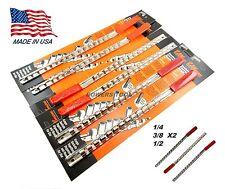 Ullman 6pc Socket Rack Rail Set Organizer Tray Holder Metric SAE 1/4 3/8 1/2 USA