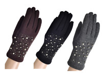 New Womens fleece lined pearl gloves touch finger Driving gloves warm winter UK