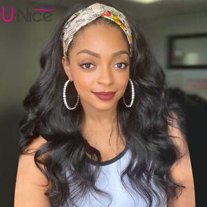 "UNice Malaysian Headband Wig Body Wave Human Hair Scarf Wigs For Black Women 20"""