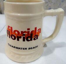 Large Clearwater Beach Florida FL Souvenir Ceramic Beer Stein Mug Made in USA