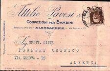 """CARTOLINA PUBB """" ATTILIO PAVESI """" CONFEZIONI PER BAMBINI ALESSANDRIA 1930 C5-613"""