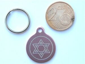 MEDAILLE GRAVEE RONDE ROSE ETOILE STAR CHATON CHAT collier medalla cane katze