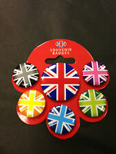 PACK PACKET OF 6 X LONDON BUTTON BADGES FLAG NEW AND PACKED PIN UNION JACK