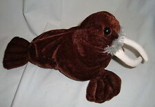 "Kellytoy Walrus 10"" Short Plush Soft Toy Brown Stuffed Animal White Tusks Small"