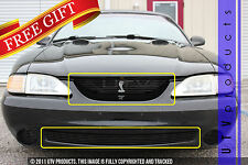 GTG 1994 - 1998 Ford Mustang Cobra 2PC Gloss Black Billet Grille Kit with Badge