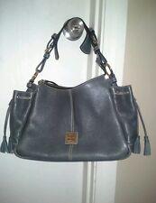 Dooney & Bourke Leather and Jacquard Tassel Two Sidepocket Hobo Blue Handbag