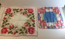Ladies Set Of 2 Vintage Flowered Hankies Handkerchiefs