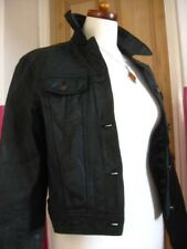 Ladies NEXT black leather short fitted JACKET denim style UK 14 12 indy biker