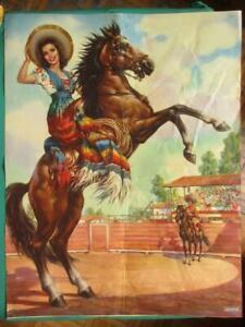 1950's BEAUTIFUL SENORITA ON HORSE PIN-UP AMAZING ART MEXICAN CALENDAR POSTER