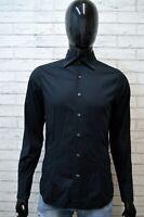 GUESS Uomo Camicia Nero Camicetta Manica Lunga Maglia Taglia S Shirt Men's Black