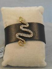 Lucky Brand Antique Goldtone Pave' Snake Brown Leather Bracelet JLRU6840 $45