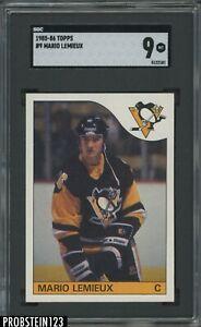"1985-86 Topps Hockey #9 Mario Lemieux RC Rookie HOF SGC 9 "" PACK FRESH """